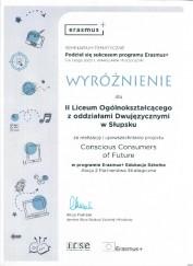 Wyroznienie za projekt Erasmus